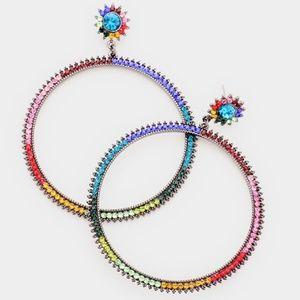 Jewelry - Multi Colored Crystal Hoop Earrings